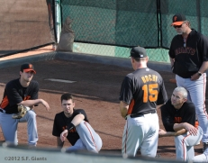 S.F. Giants, San Francisco Giants, Spring Training, Team, photo, XXX, Bruce Bochy, Eli Whiteside, Billy Hayes, Buster Posey,