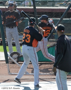 S.F. Giants, San Francisco Giants, Spring Training, Team, photo, Nate Schierholtz, Ron Wotus