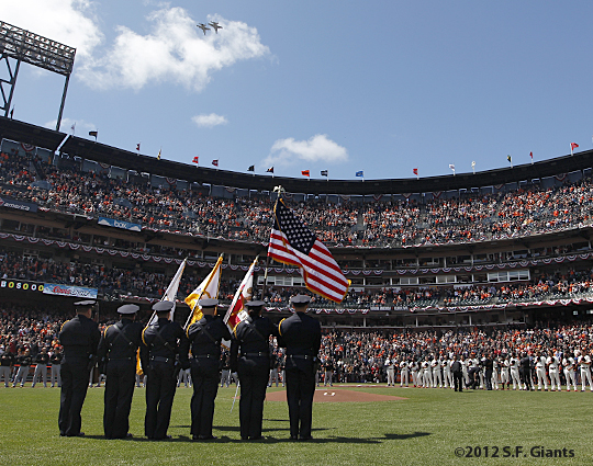 S.F. Giants, San Francisco Giants, 2012, Photo, Opening Day, Team