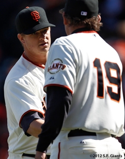 S.F. Giants, San Francisco Giants, Photo, Matt Cain, Dave Righetti, 2012