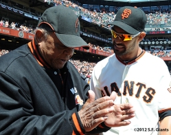 S.F. Giants, San Francisco Giants, 2012, Photo, Opening Day, Angel Pagan, Willie Mays