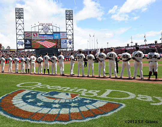 S.F. Giants, San Francisco Giants, 2012, Photo, Opening Day