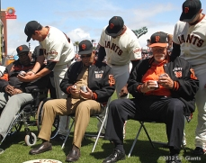 S.F. Giants, San Francisco Giants, 2012, Photo, Opening Day, Willie McCovey, Orlando Cepeda, Javier Lopez, Clay Hensley, Santiago Casilla, Gaylord Perry,