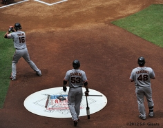 S.F. Giants, San Francisco Giants, 2012, Photo, Angel Pagan, Melky Cabrera, Pablo Sandoval