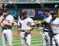 S.F. Giants, San Francisco Giants, 2012, Photo, Jeremy Affeldt, Santiago Casilla, Javier Lopez, Sergio Romo