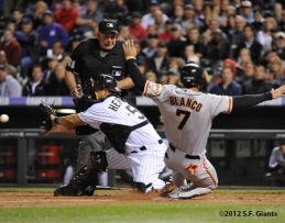 S.F. Giants, San Francisco Giants, Photo, 2012, Gregor Blanco, Ramon Hernandez