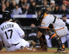 S.F. Giants, San Francisco Giants, Photo, 2012, Todd Helton, Hector Sanchez