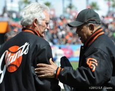 Mike McCormick and Willie Mays