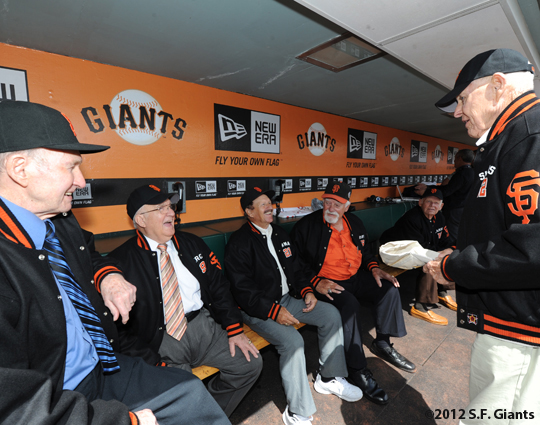 S.F. Giants, San Francisco Giants, 2012, Opening Day, 1962 Team Reunion, Alvin Dar, Lon Simmons, Gaylord Perry, Ernie Bowman, Billy Pierce