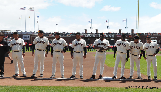 S.F. Giants, San Francisco Giants, 2012, Photo, Coaching Staff, Ron Wotus, Tim Flannery, Dave Righetti, Bill Hayes, Roberto Kelly, BamBam Meulens, Mark Gardner, Joe Lefebvre