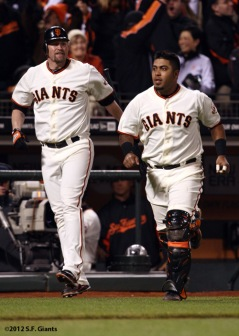 San Francisco Giants, S.F. Giants, photo, 2012, Aubrey Huff, Hector Sanchez