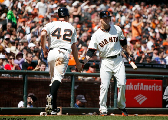 San Francisco Giants, S.F. Giants, photo, 2012, Brandon Belt, Ryan Vogelsong