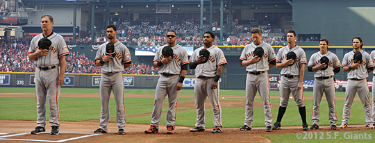 S.F. Giants, San Francisco Giants, Photo, 2012 Opening Day, Bruce Bochy, Angel Pagan, Melky Cabrera, Pablo Sandoval, Aubrey Huff, Brandon Belt, Ryan Theriot, Brandon Crawford