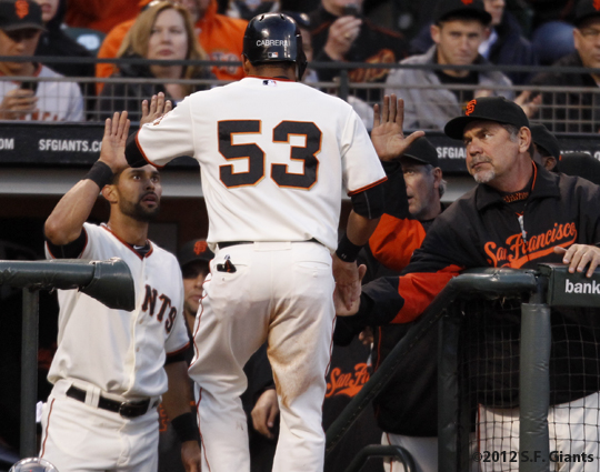 S.F. Giants, San Francisco Giants, 2012, Photo, Melky Cabrera, Bruce Bochy