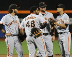 S.F. Giants, San Francisco Giants, photo, 2012, Brandon Crawford, Pablo Sandoval, Brandon Belt, Emmanuel Burriss