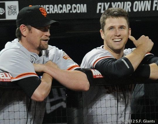 S.F. Giants, San Francisco Giants, 2012, Photo, Aubrey Huff, Buster Posey