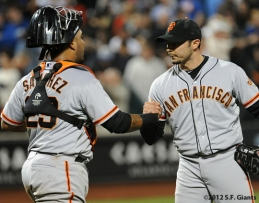 S.F. Giants, San Franicsoc Giants, Photo, 2012, Hector Sanchez, Clay Hensley