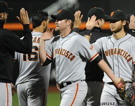 S.F. Giants, San Franisco Giants, Photo, 2012, Aubrey Huff, Brandon Crawford