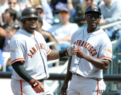 S.F. Giants, San Francisco Giants, 2012, Photo, Pablo Sandoval, Roberto Kelly