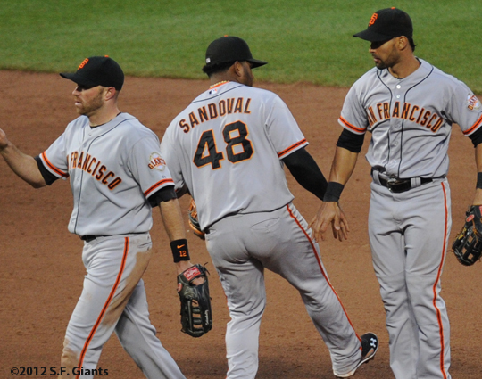 S.F. Giants, San Francisco Giants, 2012, Photo, Angel Pagan, Nate Schierholtz, Pablo Sandoval