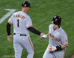 Buster Posey, Tim Flannery, S.F. Giants, San Francisco Giants, 2012, Photo