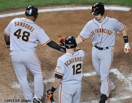 s.f. giants, san francisco giants, photo, 2012, pablo sandoval, buster posey, nate schierholtz