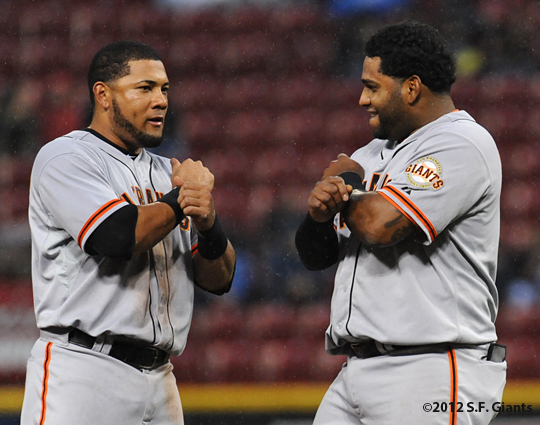 S.F. Gaints, San Francisco Giants, Photo, 2012, Pablo Sandoval, Mekly Cabrera