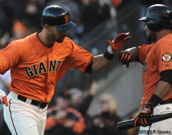 S.F. Giants, San Francisco Giants, 2012, photo, angel pagan, melky cabrera