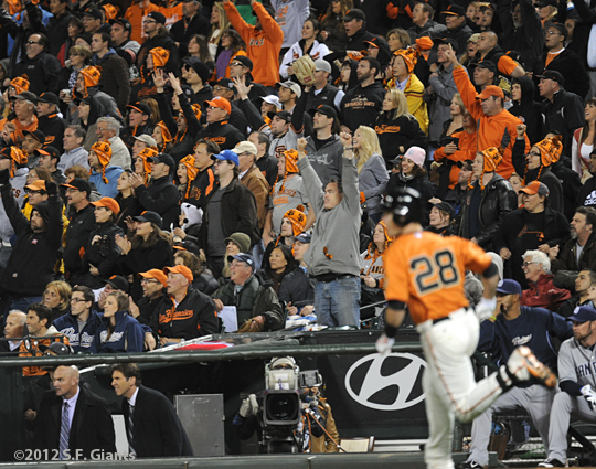 S.F. Giants, San Francisco Giants, 2012, photo, buster posey, fans