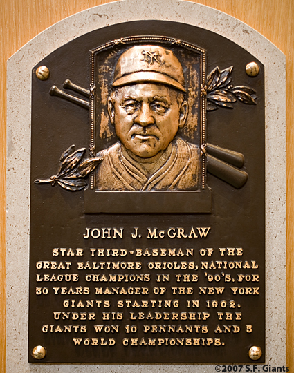 S.F. Giants, San Francisco Giants, Photo, New York Giants, Hall of Fame, John McGraw,