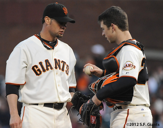 sf giants, san francisco, 2012, photo, ryan vogelsong, buster posey