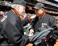 Alvin Dark and Willie were able to catch up on during the 1962 Reunion on Opening Day.