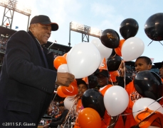Willie Mays meets with some Jr. Giants on his 80th birthday last year.