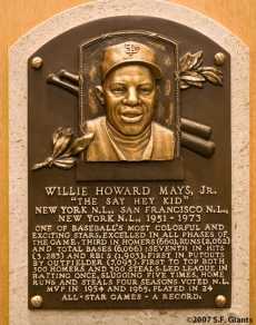 Willie Mays' Hall of Fame Plaque.