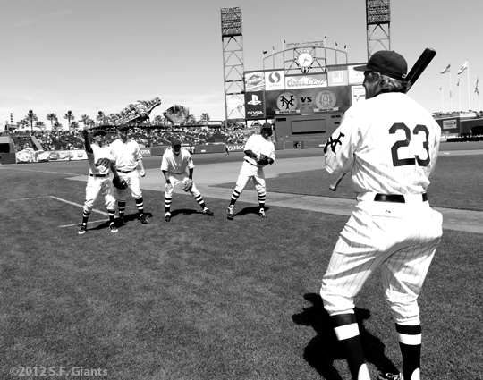 ny giants, san francisco giants, sf giants, turn back the clock, turn back the century, 2012, 1912, photo, Ron Wotus, brandon belt, brandon crawford, brett pill, emmanuel burriss