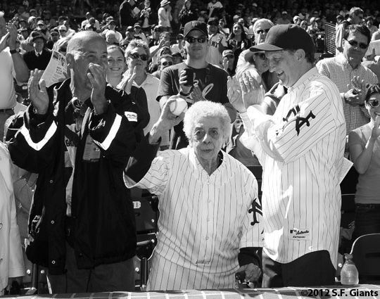 ny giants, san francisco giants, sf giants, turn back the clock, turn back the century, 2012, 1912, photo, first pitch, marianne barbara, larry baer,