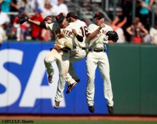 San Francisco Giants, S.F. Giants, photo, 2012, Gregor Blanco, Angel Pagan, Nate Schierholtz