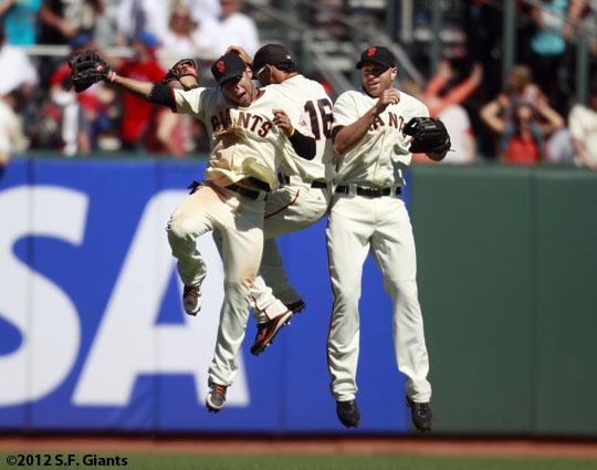 San Francisco Giants, S.F. Giants, photo, 2012, Gregor Blanco, Angel Pagan, Nate Schierholtz