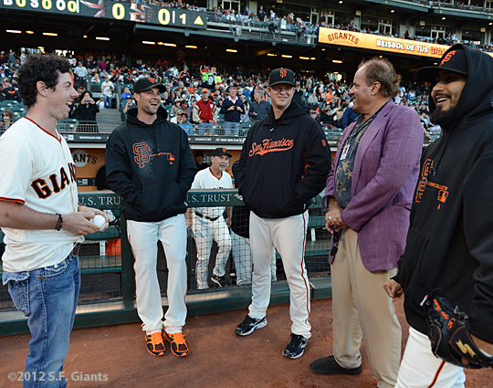 sf giants, san francisco giants, photo, 2012, chris berman, rory mcilroy, sergio romo, ryan vogelsong, matt cain