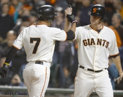 matt cain, gregor blanco, sf giants, san francisco giants, photo, 2012