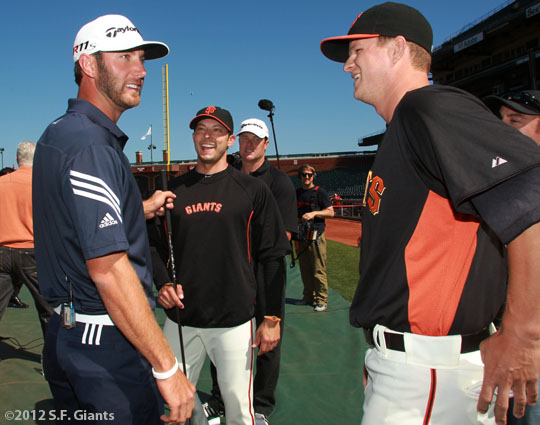 San Francisco Giants, S.F. Giants, photo, 2012, Dustin Johnson, Clay Hensley, J.T. Snow, Matt Cain