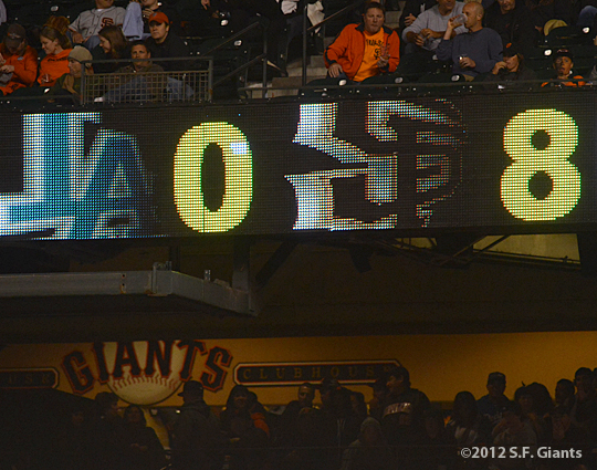 sf giants, san francisco giants, photo, 2012, scoreboard, at&T park