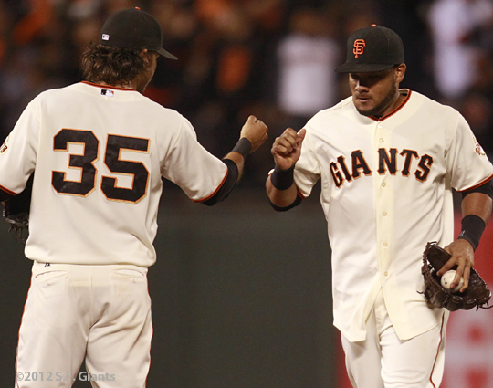 sf giants, san francisco giants, photo, 2012, melky cabrera, brandon crawford