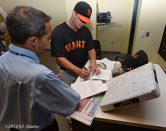 sf giants, san francisco giants, photo, 2012, matt cain, perfect game, june 13, jeff idelson