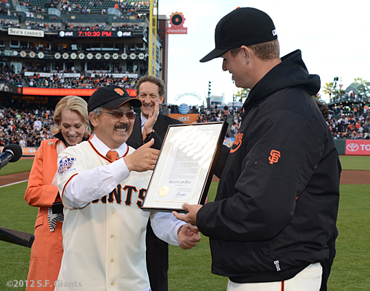 sf giants, san francisco giants, photo, 2012, matt cain, perfect game, june 13, ed lee