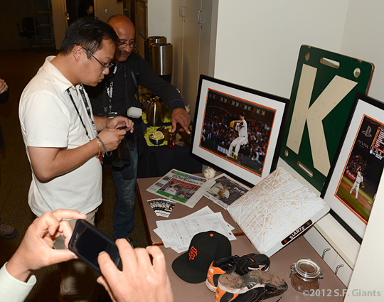sf giants, san francisco giants, photo, 2012, matt cain, perfect game, june 13, media