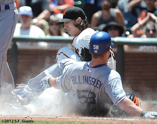 sf giants, san francisco giants, photo, 2012, tim lincecum, chad billingsley, play at the plate