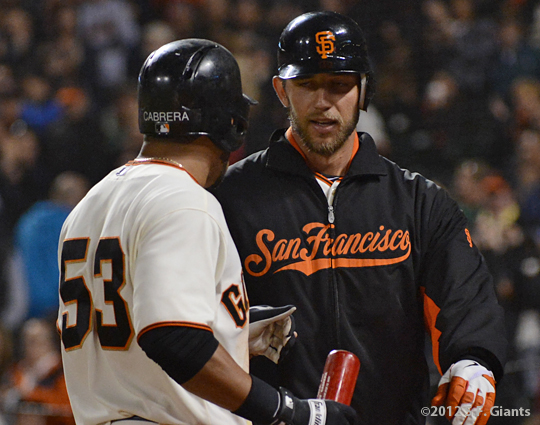 sf giants, san francisco giants, photo, 2012, melky cabrera, madison bumgarner