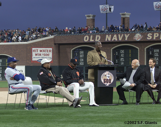 barry bonds, sf giants, san francisco giants, 2002, photo, 600th home run, frank robinson, willie mays, hank aaron, jon miller, larry baer