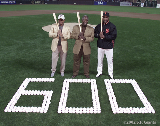 barry bonds, sf giants, san francisco giants, 2002, photo, 600th home run, hank aaron, willie mays